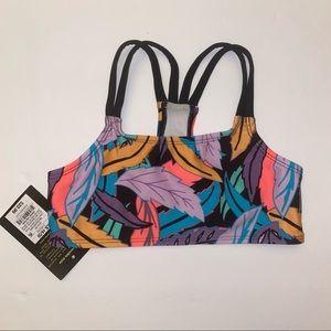 ART CLASS Floral Tropical Neon Bikini Top